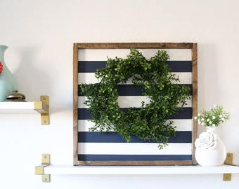 Grey and White Striped, Wood Sign Framed, Boxwood Wreath, Shabby Chic Decor, Rustic, Fixer Upper, Housewarming Gift, Black & White
