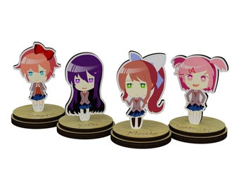 Doki Doki Literature Club Figurines on a stand by James.chr