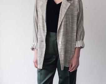 vintage woven grey blazer / women's medium