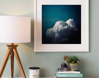Abstract Art Print, Abstract Giclee, Green + White Cloudscape, Modern Art Abstract, Minimalist Painting, Abstract Expressionist Art