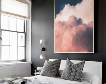 Extra Large Wall Art, Cloud Painting, Abstract Art, Large Abstract Painting, Pink, Navy Blue and Cream Cloudscape Art by CORINNE MELANIE ART