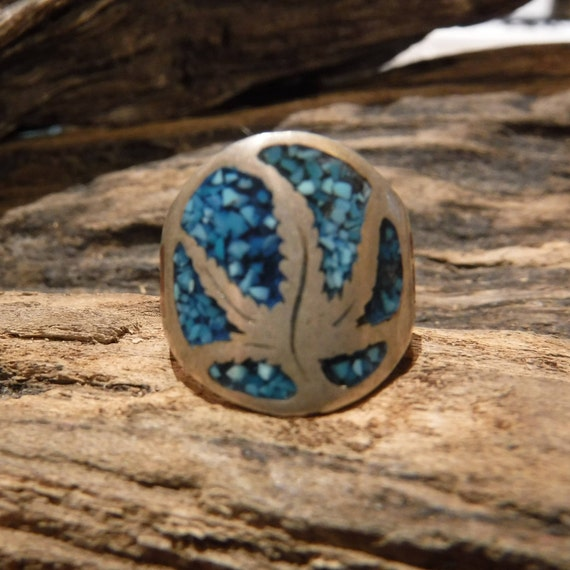 Vintage Sterling Silver Marijuana leaf Ring Mexico Sterling Silver 5.5 Grams Size 6 Mens Silver Turquoise Coral Rings Mens Rings Pot Ring