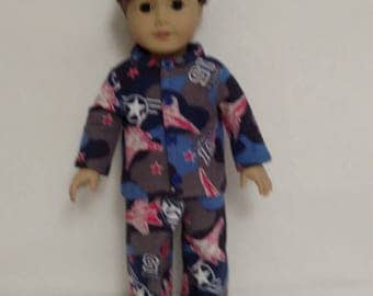 18 inch doll clothes AG doll clothing Sleapwear Flannel Pajamas made to fit like American Girl boy dolls 451b