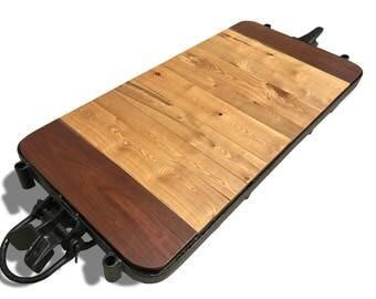 "Vintage Railroad Cart Coffee Table - Rustic Coffee Table with ""Wood Floor Safe"" Wheels - Rustic Rail Cart Table - Vintage Rustic Table"