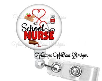 School Nurse Retractable ID Badge Reel
