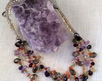 gemstone necklace, amethyst, smoky quartz, carnelian, peridot, citrine, glass, sterling silver