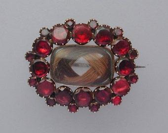 Antique Georgian Flat-Cut Garnet & Hairwork Mourning or Sentimental Brooch Pendant