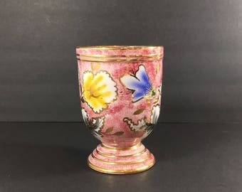 Pink Pottery Urn with Pedestal Vessel Pink and Gold Floral Hand Painted No. 654/15 Italian Decor Made in Italy