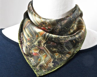 """Small Silk Scarf, Silk Neckerchief, """"Difference Engine"""", 3D Fractal design, 17"""" Square, gifts for her, hand-rolled hem, purse scarf"""