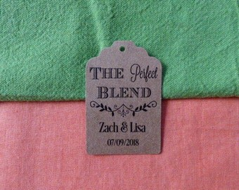 KRAFT The Perfect Blend. Personalized Favor Tags. Coffee Wedding Favor Tags. Kraft Labels. Set of 25 to 300 pieces