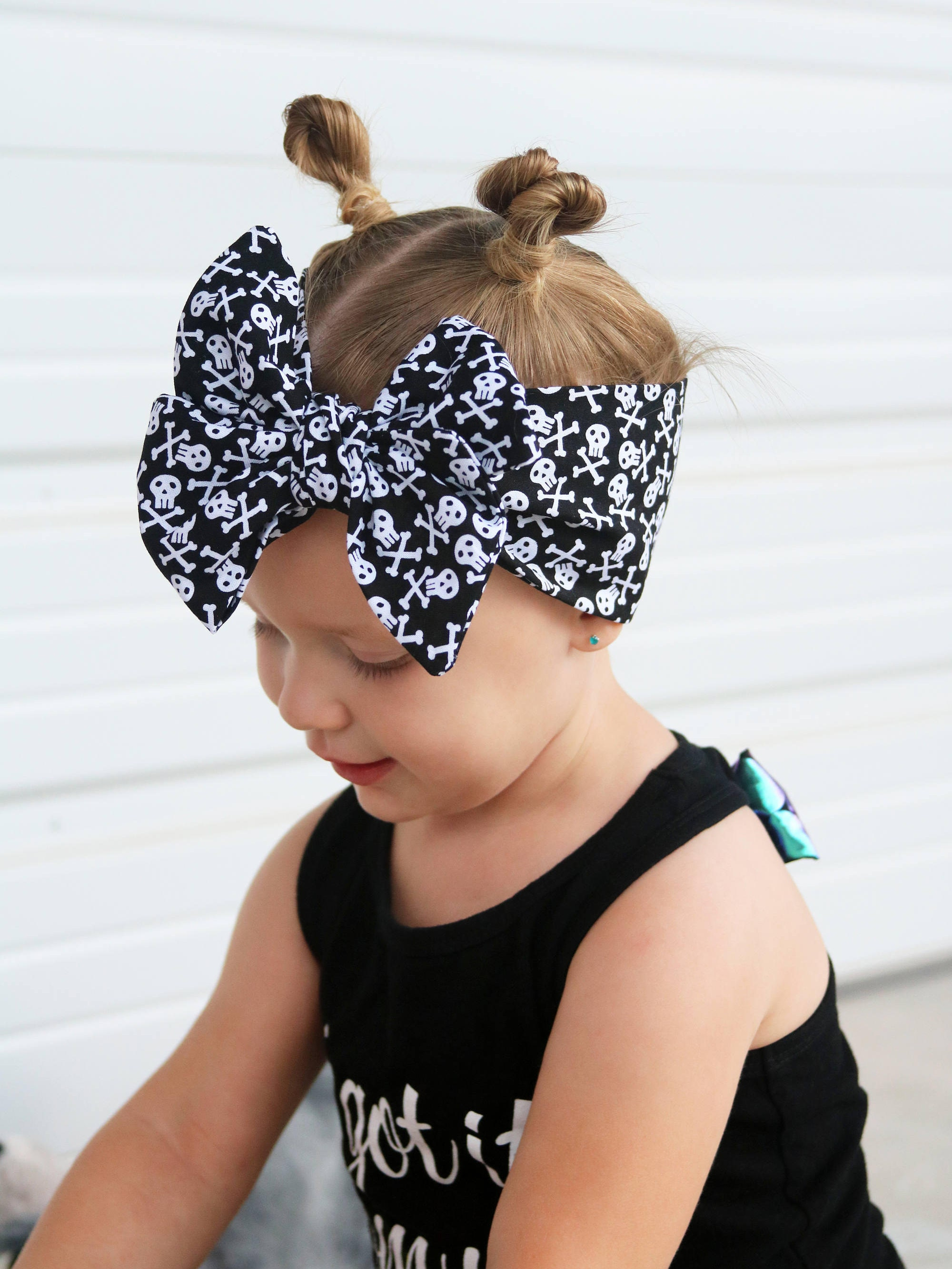 Skull Head Wrap for Girls Baby Skull Headband Bow Punk Baby Girl