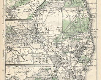 1929 Dyrehaven Park, Copenhagen Denmark Antique Map