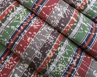 Yukata cotton with brown, green, red stripes and dyed cherry blossoms, mums and foliage - by the yard