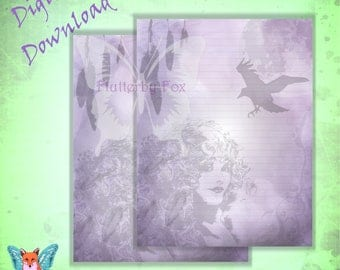 Morgana Stationery, Goddess Morgan, Book of Shadows, King Arthur, Grimoire Page, Spell Page, Crow Page, Raven page, Crow Stationery, Raven