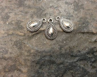 Silver Teardrop Charms with antique silver finish Package of 3 charms perfect for earrings