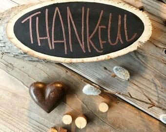 THANKFUL WOOD SLAB, Custom Lettering, Thankful Ornament, Wood, Custom, Name, PIne Slab