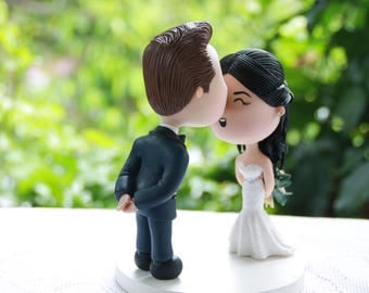 Cute couple kiss. Wedding figurine. Handmade. Fully customizable. Unique keepsake