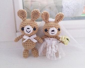 Wedding Gift, Crochet Bunnies in love, married couple
