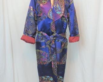 80s the ALEZZA vintage custom made hand craft PURPLE oversize heritage silk satin brocade Asian  dragon lounge robe smoking jacket   吉祥圆