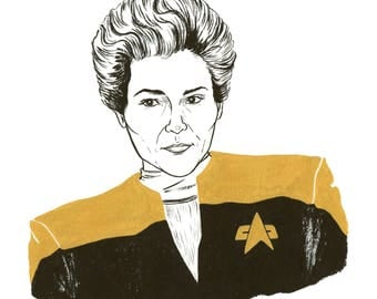 Famous Ladies: Captain Janeway Ink Drawing
