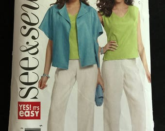 See & Sew B5311 - Easy to Sew Short Sleeve Jacket, Sleeveless Shell Top, and Back Zipper Pants - Size L XL XXL