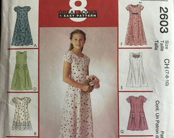McCalls 2603 - Girl's Princess Seamed Dress with Sleeveless or Short Puff Sleeve Options - Size 7 8