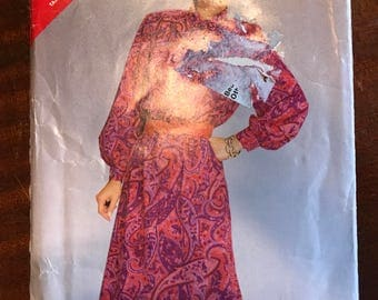 See & Sew 5445 - 1980s Slightly Flared Midi Dress with Blouson Bodice and Neck Bow Tie - Size 14 16 18