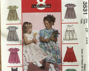 McCalls 3531 - Girl's Sleeveless or Short Puff Sleeved Dress with Flared Skirt - Size 4 5 6