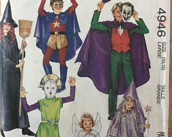 McCalls 4946 - 1980s Child's Costume Collection with Super Hero, Joker, Witch, Alien, Angel, and Princess - Size 10 12