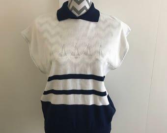 vintage 80s nautical yacht marina white & navy blue knit top