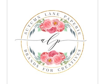 Logo Design - Circle Logo - Watercolor Flower Logo - Photography Logo - Premade Logo Design - Shabby Chic Logo - Gold Logo - Floral Logo