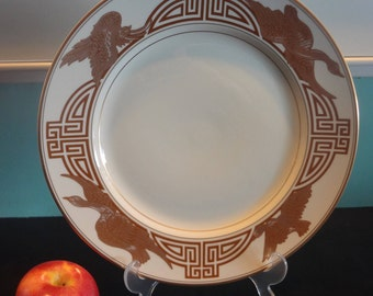 Two Vintage Fitz and Floyd Golden Heron Service Plates / Chargers