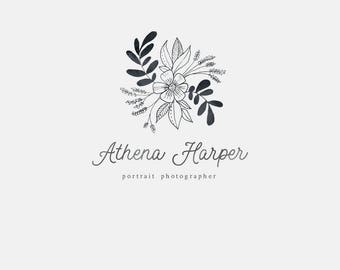 """Sketched Floral Logo Design for Photographers Boutiques Bloggers - Hand Drawn Logo Design - Calligraphy Logo - Watercolor Logo """"Athena"""""""