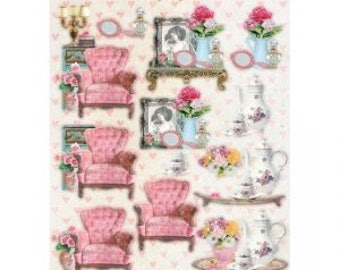 Empheria Studio Light Easy Shabby chic tea cups and chairs die out pieces on A4 sheet,  200gsm paper empheria for card and scrapbooking