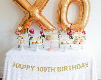 Happy 100th Birthday Banner, Glitter Birthday Banner, Birthday Banner, Party Banner, Milestone Birthday Decor, 100th Birthday Banner