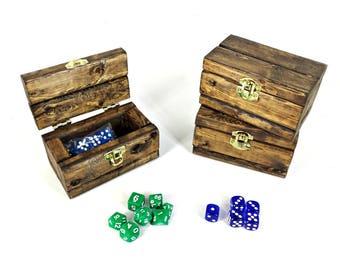 Rustic Wooden Box, Dice Gift Box, Small Pocket Knife Gift Box with Lid, Handmade Little Box, Tiny Keepsake Box, Dark Walnut Stained Wood Box