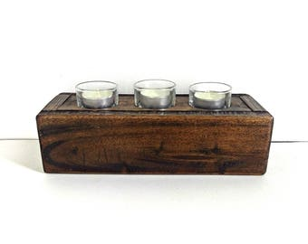 Tealight Candle Box, Salvaged Wooden Box, Centerpiece Box, Small Candle Holder, Rustic Hostess Gift, Windowsill Box, Handmade Tabletop Decor