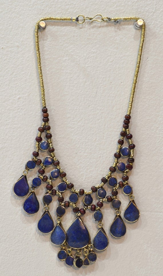 Necklace Middle East Lapis Stone Silver Tribal Necklace 24""
