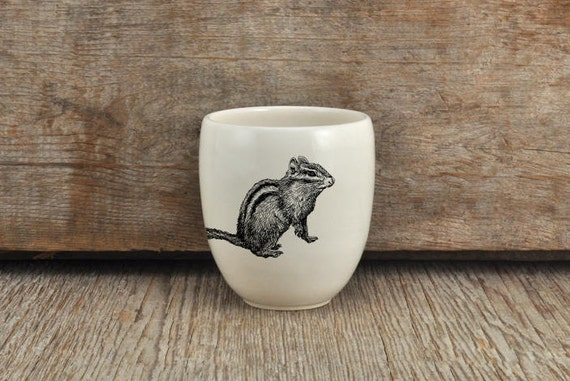 Handmade Porcelain coffee tumbler with chipmunk drawing Canadian Wildlife collection