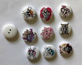 10 Wooden  Skull  Button  - #H-00008