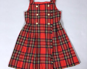 Vintage Florence Eiseman Girls Childrens Size 8 Red Tartan Plaid Classic Traditional Jumper Dress