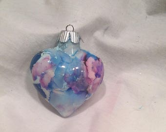 Hand Painted Alcohol Ink  Glass Heart Ornament Blue Pink Purple White