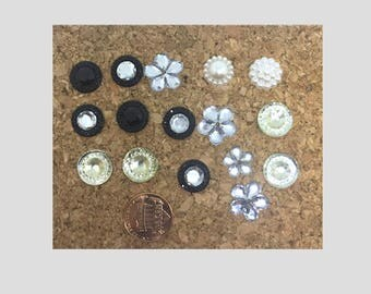 Black White Silvery Glittery Fancy Push Pins Thumb Tacks Magnets, Cubicle Decoration, Dorm Room, Teen Girl Cork Board, Diva Thumb Tacks