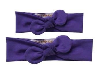 Amethyst Purple Solid Headband, Mommy and Me, Baby Girl Headband, Knot Headband, Knotted Bow Headband, Knit Knot Headband