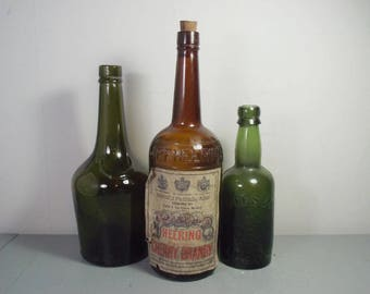 Vintage Set of Glass Drinks Bottles, Heering Cherry Brandy Bottle, Green Glass Bottle, Green Bottle, Green Spirit Bottles, Brown Bottle