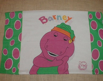 Vintage Barney Pillowcase *Colorful Graphics* 1992 Official Barney Product