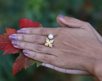 PEARL FLOWER ADJUSTABLE Ring / Gold Plated / Handcrafted / Gifts for her