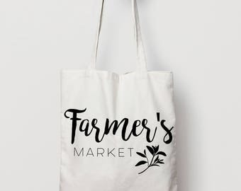 Farmer's Market Tote Bag - Canvas Tote Bag - Cotton Tote Bag - American Apparel Tote Bag
