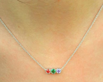 Birthstone Mothers Necklace-Birthstone Necklace-Mothers Necklace-Family Necklace-925K Silver Zirconia Handmade Birthstone Necklace