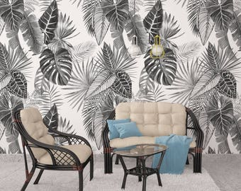 Tropical Wallpaper - Black and White Leaves - Minimalist Decor - Peel & Stick - Self Adhesive Fabric - Temporary Wallpaper - SKU:BWLEA
